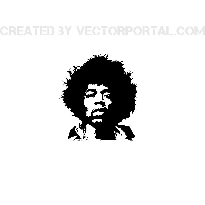 Singer Jimi Hendrix Free Vector