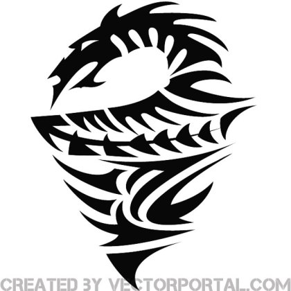 Tribal Dragon Illustration Free Vector