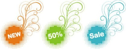 Colorful Sale Stickers Free Vector