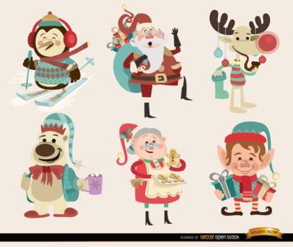 6 Christmas Cartoon Characters Free Vector