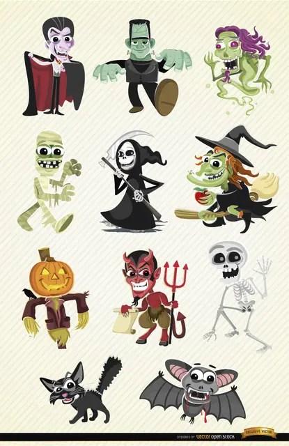 Halloween Cartoon Characters Set Free Vector