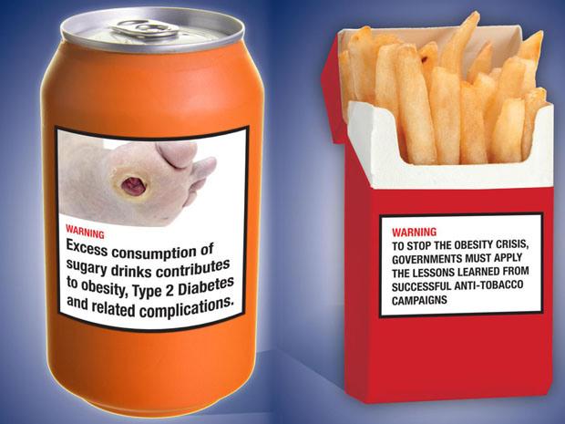 mock-up of food warning labels