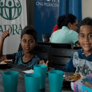 Niños refugiados en el centro de alojamiento temporal sede en Huaquillas (CAT) liderado por Adra-Ecuador. (Foto: Samuel Velásquez)
