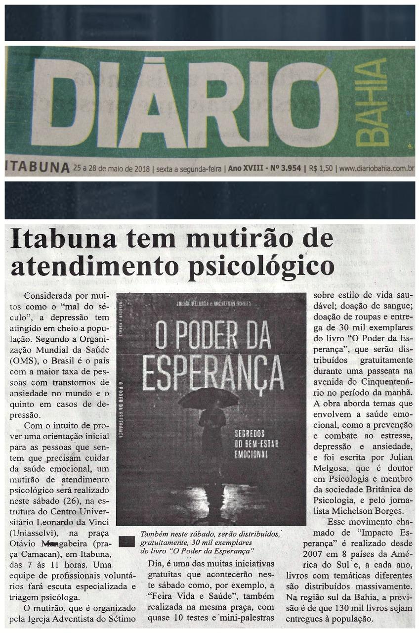 Notícia foi divulgada no jornal Diário Bahia