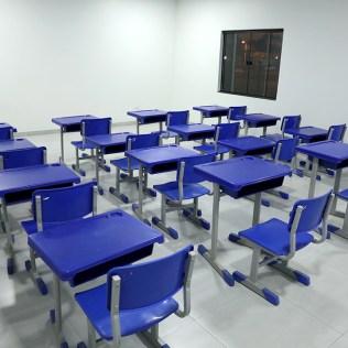 Sala de aula pintada pelos voluntários. (Foto: Dinei Avelar)