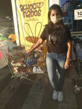 Arrecadação de alimentos em supermercado de Concórdia. [Foto: Reprodução].