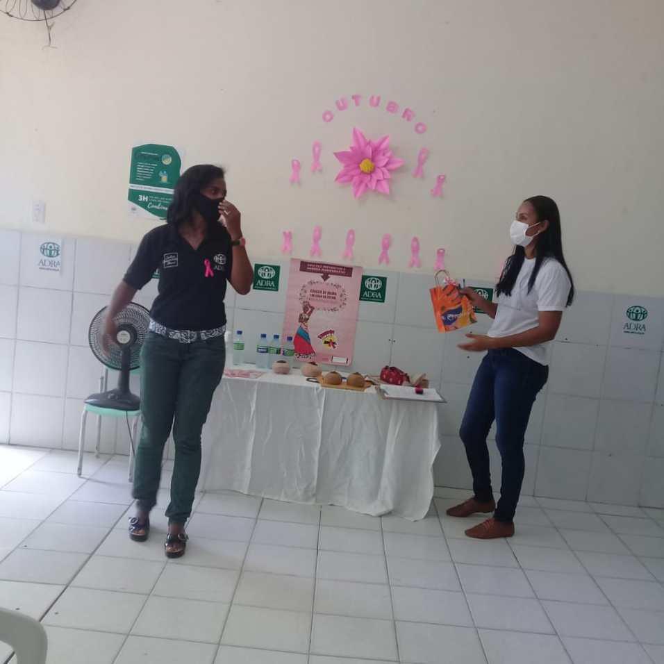 Agileuza Santana coordenadora do Projeto Cidinho apresentando a palestrante e enfermeira Bárbara Sampaio (Foto: Divulgação)