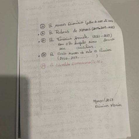 Dados da secretaria da Igreja Adventista do Setor Pedro. (Foto: arquivo pessoal)