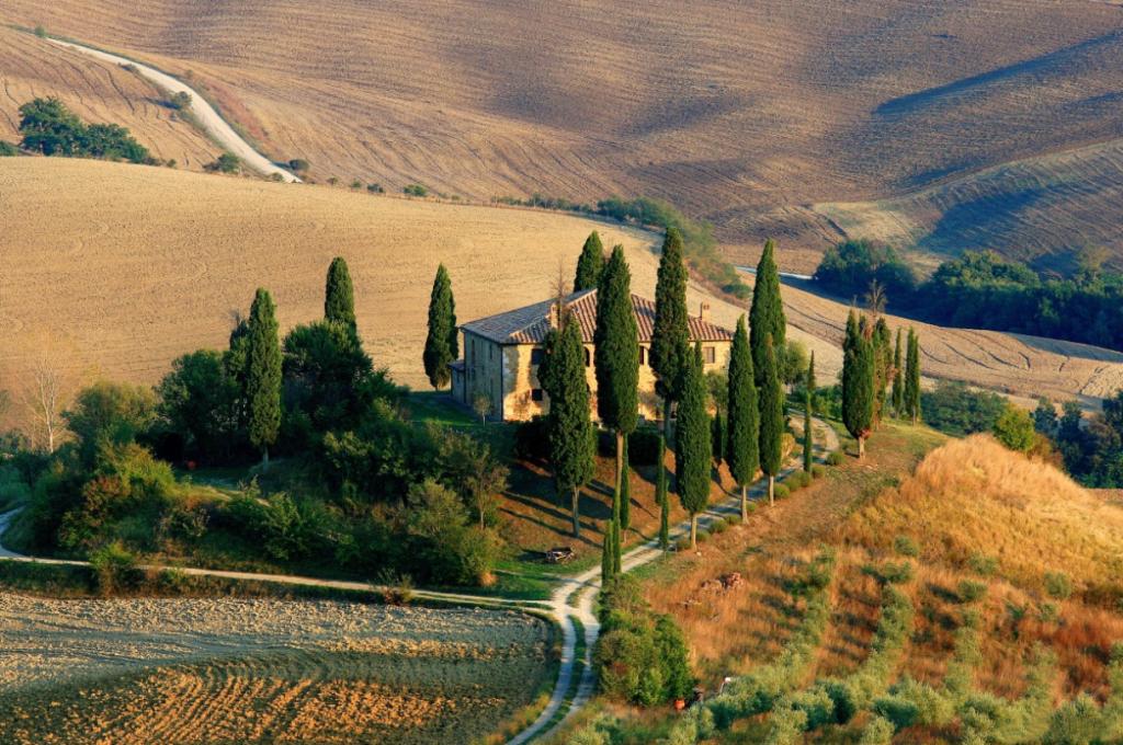 paisagem com casa, campo e diversos ciprestes