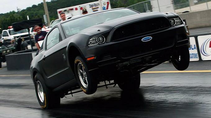 Wheelie by 2014 Mustang Cobra Jet Race Car