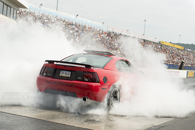 Mach 1 doing a burnout at the Roush Burnout contest #am2014