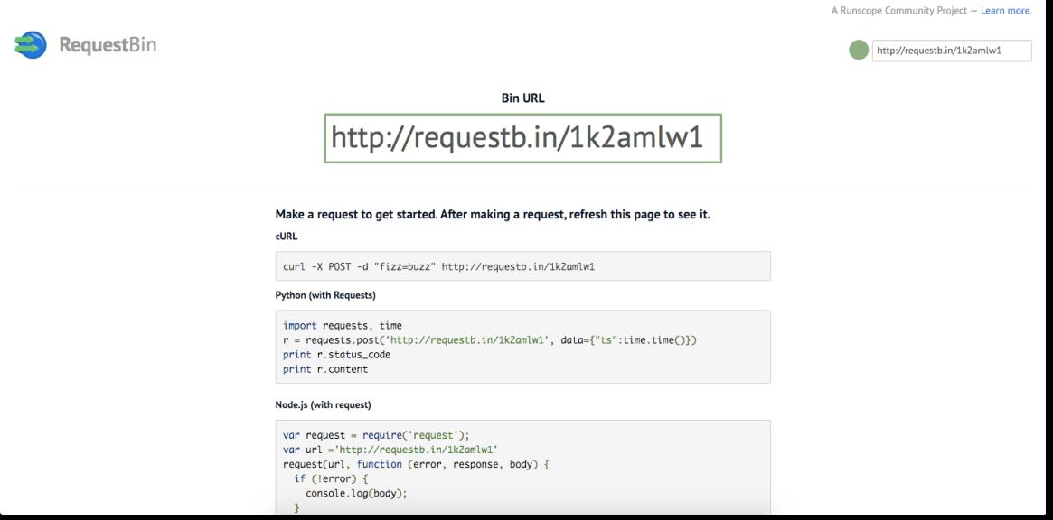Copy the Bin URL from RequestBin