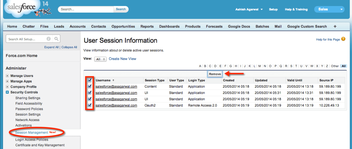 View and kill active sessions in Salesforce