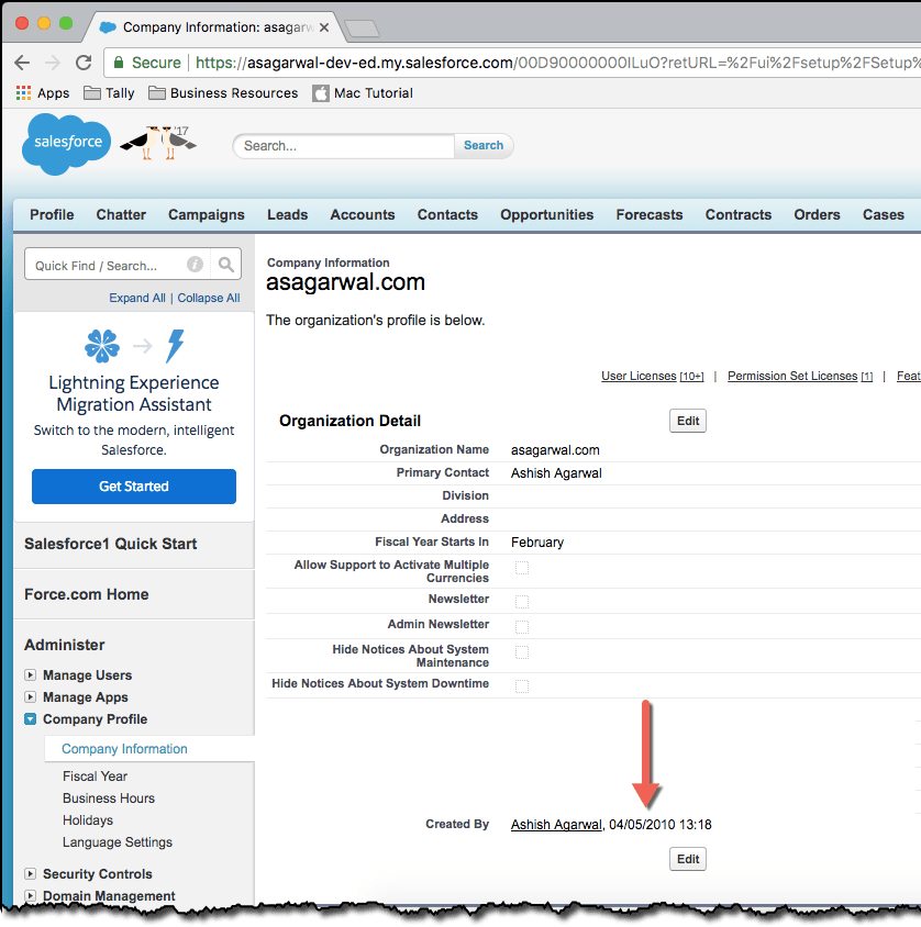 How to Find Salesforce Org Creation Date