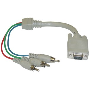 1ft VGA to Component Video Cable, HD15  3 RCA Male