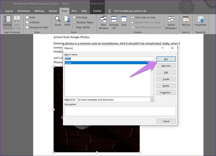 如何在Microsoft Word中使所有的图片都变成同一大小