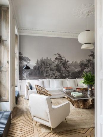 white linen sofa parquet chevron pied-à-terre Parisien - decoration blog - Clem Around The Corner