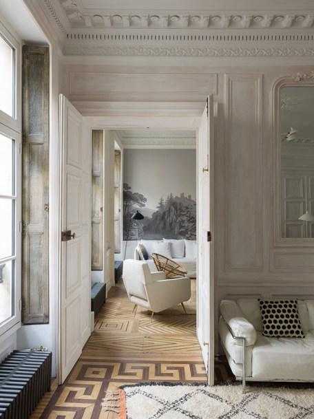 parquet floor with a Parisian pied-à-terre pattern - decoration blog - Clem Around The Corner