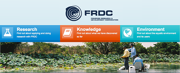 Logo of FRDC and image of fishermen