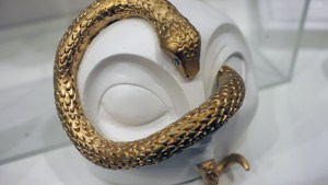 Cirque Noir exhibition - Kelly Denato's Snake Gets in Your Eyes mask