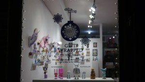 Window display for Gift Wrapped 2016 exhibition at The Clutter Gallery