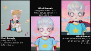 Hikari Shimoda's Lonely Hero, Eulogy at a Funeral, and Children of This Planet 14 paintings, 2011-2014