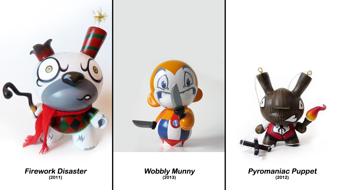 Igor Ventura's Firework Disaster custom Dunny, Wobbly Munny custom Munny, and Pyromaniac Puppet custom Dunny