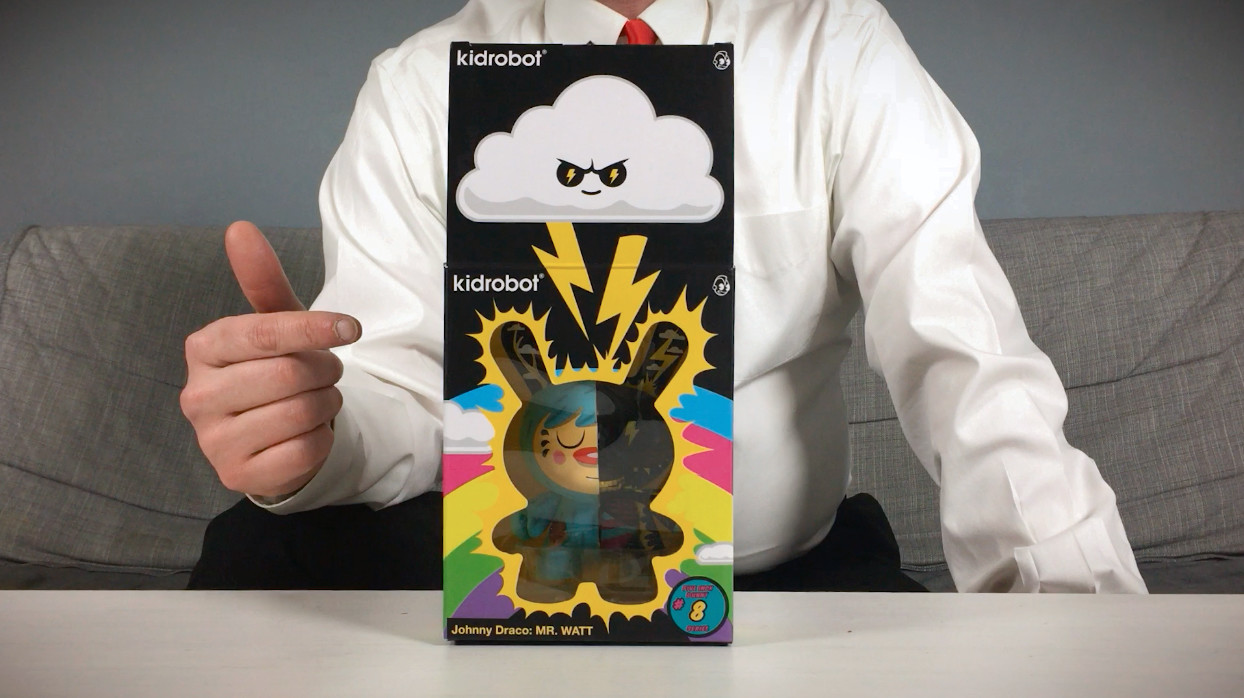Johnny Draco's Mr. Watt Dunny from Kidrobot, in packaging/box
