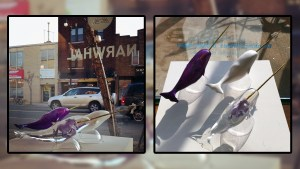 Kozyndan's Narwhal Sculpture on display at exhibition