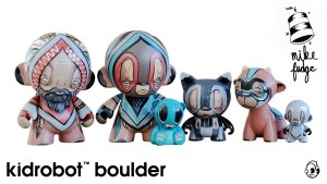 Mike Fudge's custom Munny & Munnyworld figures for Kidrobot Boulder, circa 2013