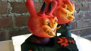 Mr. Mitote's Diablo Rojo B (5 inch Dunny in wooden car) - Chamuco Solo Exhibition