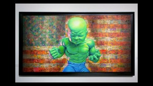 Ron English's The Incredulous HulkBoy painting at Opera Gallery's Status Factory exhibition, 2010