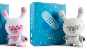 "Squink's Kono the Yeti 8"" Dunny from Kidrobot, Pink ""Bubblegum"" & Grey ""1093's Sighting"" Editions, 2018"