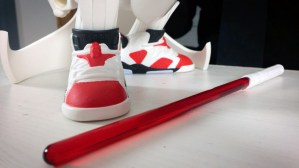 Tracy Tubera's Jordan Sith Infrareds, sneaker tongue detail