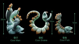 Chao Woo's INLY COOL / Gravitational Bone series - Man, Snake, and Fish