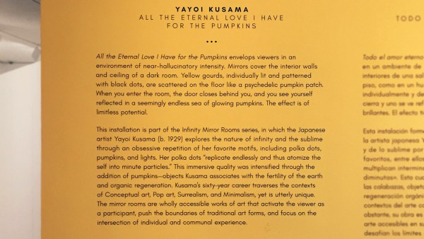 Yayoi Kusama's All the Eternal Love I Have for the Pumpkins - description
