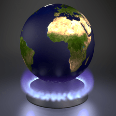 Earth above a lit gas stove burner