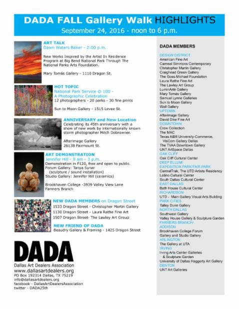 DADA Fall Gallery Walk – Saturday September 24, 2016 in Dallas area art spaces