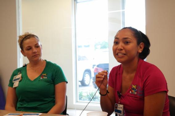 Music Therapist Stephanie Epstein and Child Life Specialist Beda Williams talk about their work at Holtz Children_s hospital.