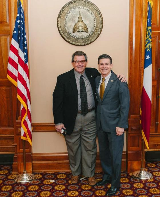 Rep Alan Powell and me after passage of SB 85 the Beer and Distillery Bill