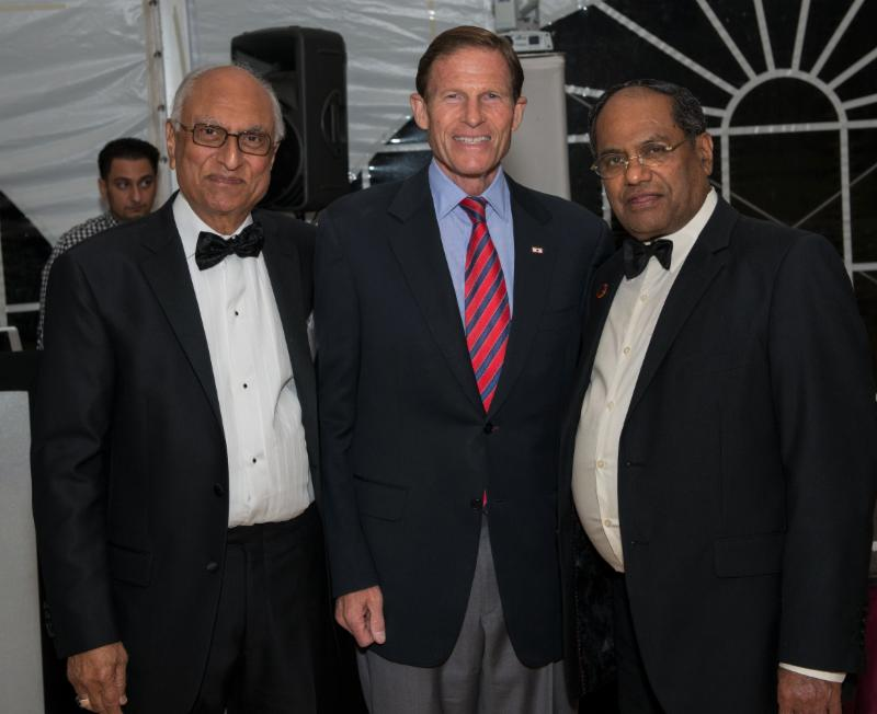 Senator Richard Blumenthal with GOPIO-CT Treasurer Biru Sharma and GOPIO Chairman Dr. Thomas Abraham