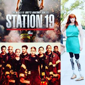 Collage of three images: Station 19 logo, cast photo and image of Katy Sullivan, an actress and producer who is an amputee
