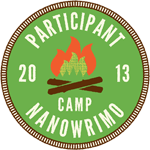 Badge with campfire saying NANOWRIMO 2013