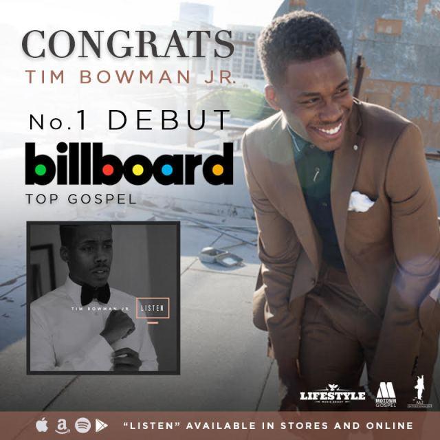 Congrats TIM BOWMAN JR. No. 1 Debut BILLBOARD Top Gospel Album