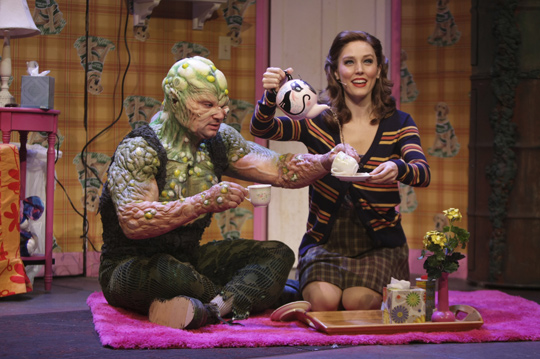 Constantine Maroulis and Mara Davi played Toxie and Sarah, his blind love interest, at the Alley Theatre in Houston, Texas