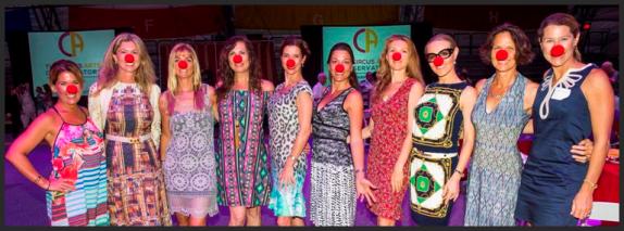 10 Ladies in clown noses at La Cirque Appetit event.