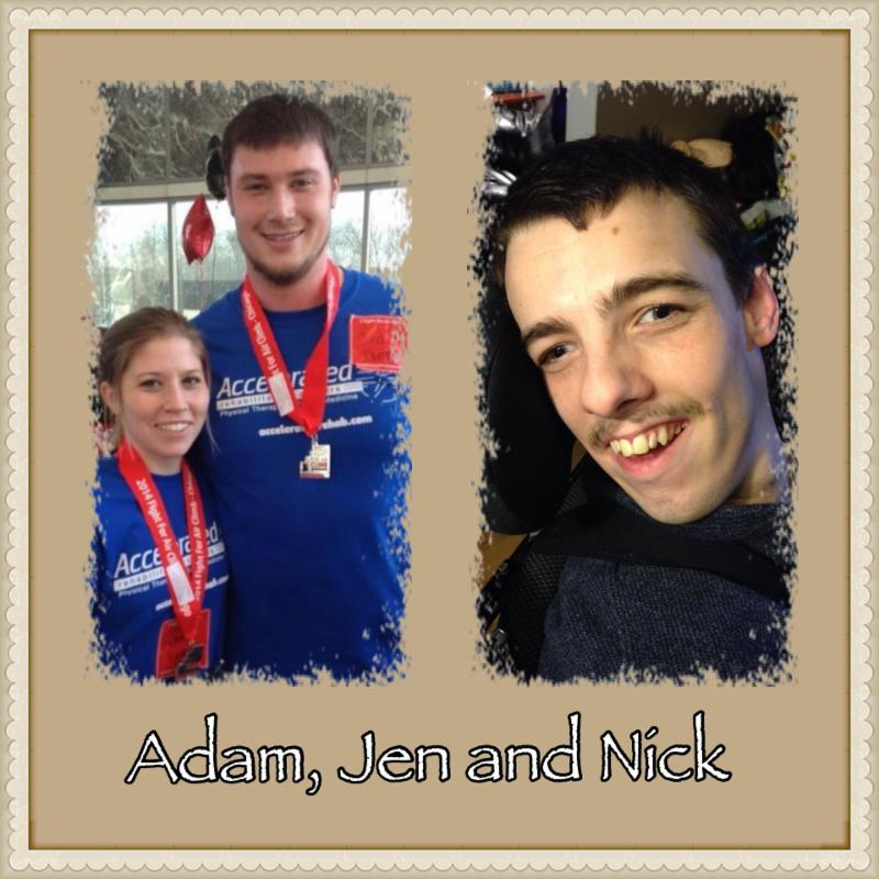 Runner -Team Nick- is Adam Macdonald and Jen Seid pictured with their (buddy), my son, Nick Fioravanti
