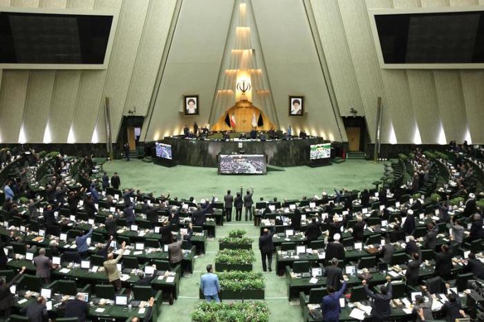 Ali Laridschani, Präsident des iranischen Parlaments, spricht während einer Parlamentssitzung. Foto: -/Icana /dpa