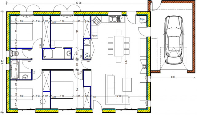 plan maison plein pied 100m2 rectangle