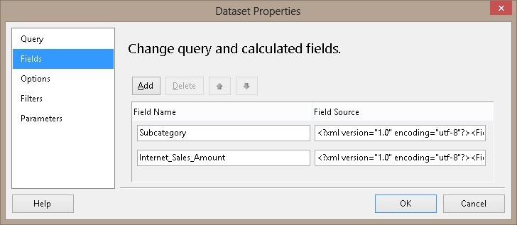 Reporting Services MDX Field List and Using Measures on rows